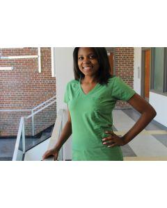 Light Green Ladies V-neck T-Shirt with Green Logo